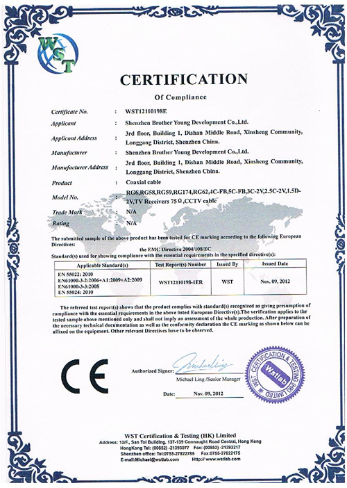 ce certificate for coax cable