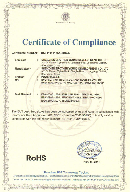ROHS Certificate For Power Cable