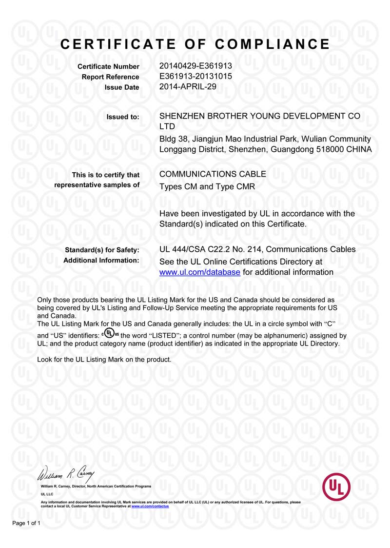 UL Certificate For Communication Cable